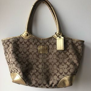 Coach Canvas & Gold Leather Tote Handbag